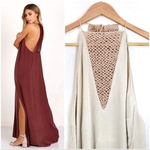 {acacia} Makawao SILK Maxi Dress in Clay